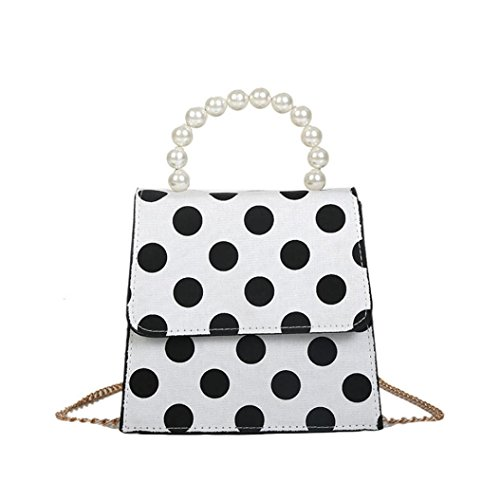 ?Tefamore Women Dot Printed Pearl Cover Crossbody Bag 2018 New Fashion Shoulder Bag Handbag White