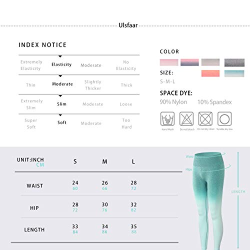 Women Ombre Seamless Leggings Yoga Fitness Sport Slim Running Gym Workout Tights Butt Lift Yoga Pants (Green, M)