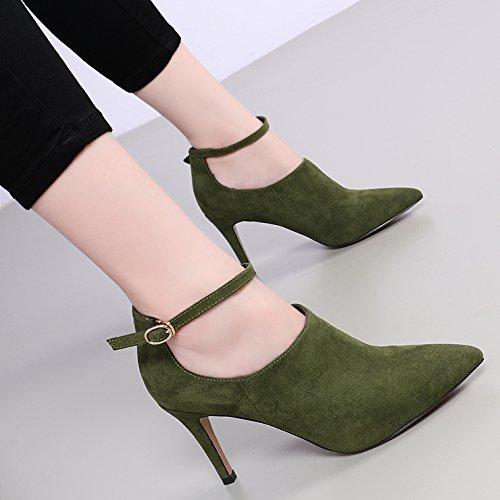 KHSKX-Eine Schnalle 8.5Cm Blanken Schuhe Mit Hohen Absätzen Die Stiefel Die Einzigen Spitzen Stiefeln Wasserdichte Wildleder Passt Gut Mit green