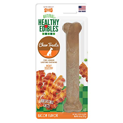 Flavored Bacon Biscuits Dog - Nylabone Healthy Edibles Bacon Flavored Dog Treats | All Natural Grain Free Dog Treats Made In the USA Only | Small and Large Dog Chew Treats | 1 Count