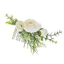 Vividsun Bridal Flower Comb Greenery Hair Comb Wedding Floral Headpiece (Camellia)