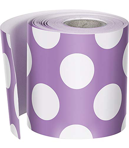 Schoolgirl Style Rolled Straight Borders, Purple with Polka Dots -