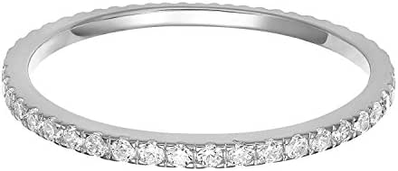 PAVOI 14K Gold Plated Sterling Silver CZ Simulated Diamond Stackable Ring Eternity Bands for Women