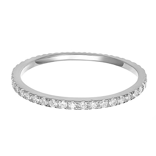 Round Diamond Sapphire Fashion Ring - PAVOI AAAAA CZ Sterling Silver Cubic Zirconia Stackable Eternity Ring - 5