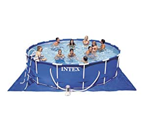Intex 15 foot by 42 inch family size round metal frame pool set framed swimming for A swimming pool is circular with a 40 ft diameter