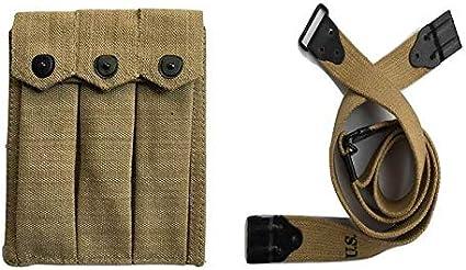 Warcraft Exports U.S. Army GI USGI WWII Triple 3 Magazine Thompson - Funda para cinturón de 3 celdas con M1903 Thompson SMG ajustable Kerr patrón Sling-Khaki Color (COMBO)