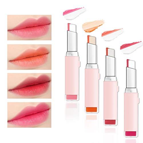 Ownest 4 Colors Double Color Lipstick,Two Tone Candy Moisturzing Waterproof Lipstick Gradient Bitting Lipstick V Styling Biting Lipstick Makeup-Set A