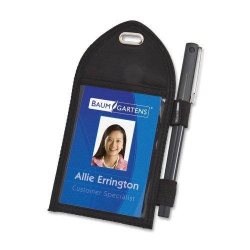 Wholesale CASE of 25 - Baumgartens Badge Holder-Badge Holder,w/Pen Loop,Second Pocket,2-1/4''x3-12'',Black