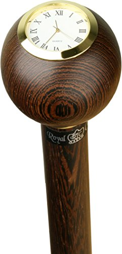Wenge Wood Small Ball Clock Handle Walking Stick With Wenge Shaft And Brass Collar