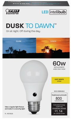 Feit Electric A800/927/DD/LEDI Intellibulb LED Light Bulb, Dusk to Dawn, 9.5-Watt - Quantity 4