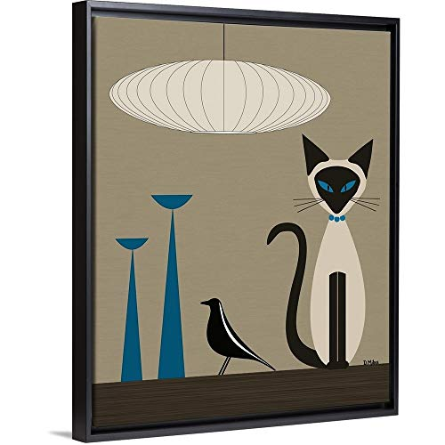 Siamese with Eames House Bird Black Floating Frame for sale  Delivered anywhere in USA
