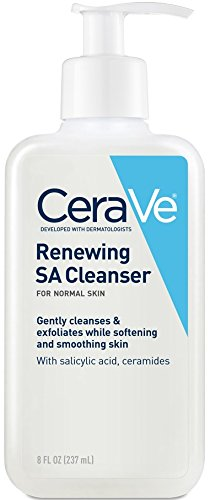 Salicylic Acid Face Wash - CeraVe Salicylic Acid Cleanser | 8 Ounce | Renewing Exfoliating Face Wash with Vitamin D for Rough and Bumpy Skin | Fragrance Free