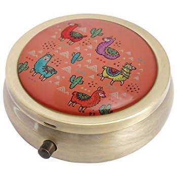Halulu Awesome Llama Personalized Design Round Pill Case Decorative Metal Medicine Vitamin Organizer Unique Gift
