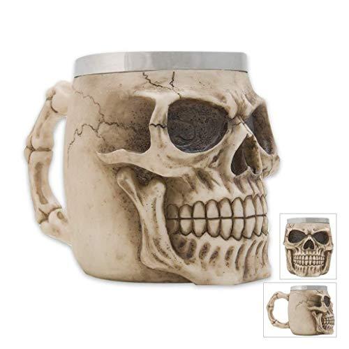 3D Stereo Skull Beer Cup Stainless Steel Coffee Cup Bar Halloween Decoration/Barbecue Beer Mug German Oktoberfest Beer Mug (350ml)]()