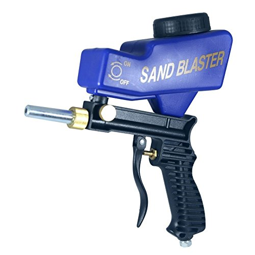 Portable Sand Blaster, Media Blasting Nozzle Gun, Gravity Feed Sandblast Gun, Crafts, DIY, Glass & Mirror Etching Tool with Extra Tip (blue).