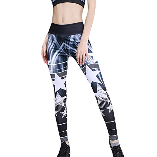 Women's Star Printed Pants High Waist Yoga Splice Leggings Running Sports Trousers Fitness Exercise Athletic Jeans
