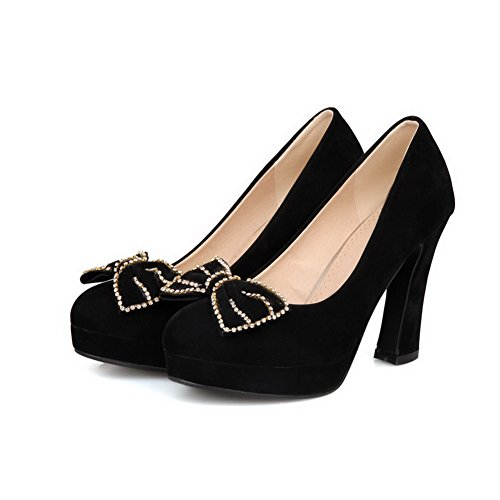 VogueZone009 Womans Closed Round Toe High Heel Suede Pumps with Bowknot and Rhinestone Black
