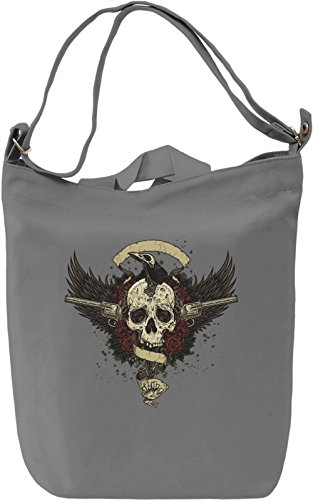 Skull with guns Borsa Giornaliera Canvas Canvas Day Bag| 100% Premium Cotton Canvas| DTG Printing|