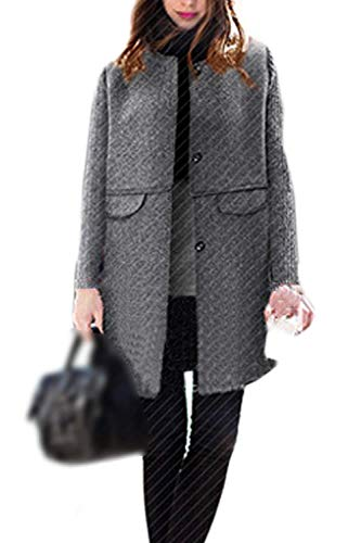 Vintage Anchas Elegantes Redondo Lana Casual Mujer Largo Cuello Chaqueta Invierno Fashion Grande Grey Termica Larga Abrigo Adelina Outerwear Manga Talla 6SPwxqgnE
