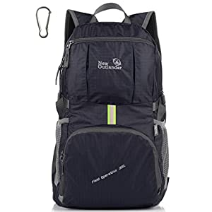 Outlander Packable Lightweight Travel Hiking Backpack Daypack (New Black)
