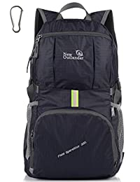 LARGE! 35L! Outlander Packable Handy Lightweight Travel Backpack Daypack+Lifetime Warranty (New Black)