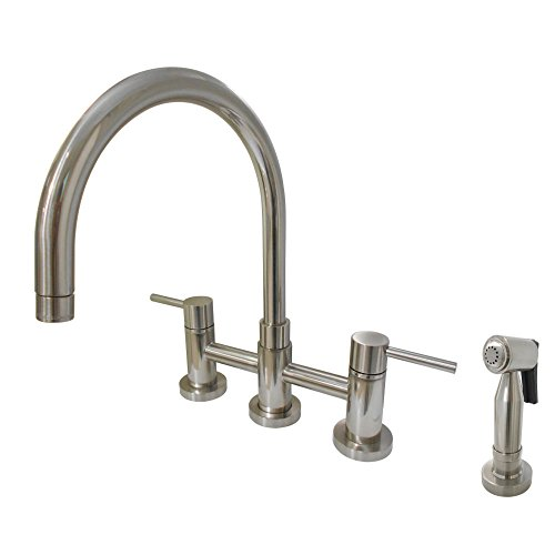 Kingston Brass KS8278DLBS Concord 8-Inch Center set Gooseneck Kitchen Faucet with Brass Side sprayer, Brushed Nickel