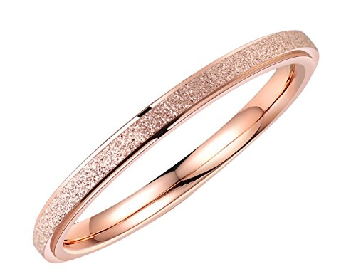 ALEXTINA Women's Stainless Steel 2MM Thin Stackable Midi Rings Rose Gold Engagement Wedding Bands Size 5 ()