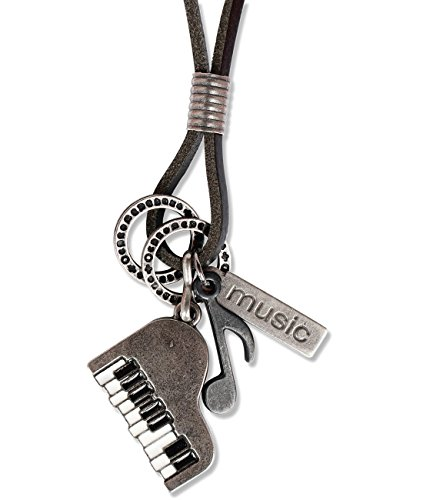Music Musical instruments necklace, genuine leather cord Surfer jewelry for Men & Women (Piano) (Piano Pendant)