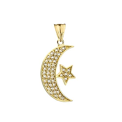 CaliRoseJewelry 10k Yellow Gold Crescent Moon and Star Diamond Pendant Necklace and Earrings Set
