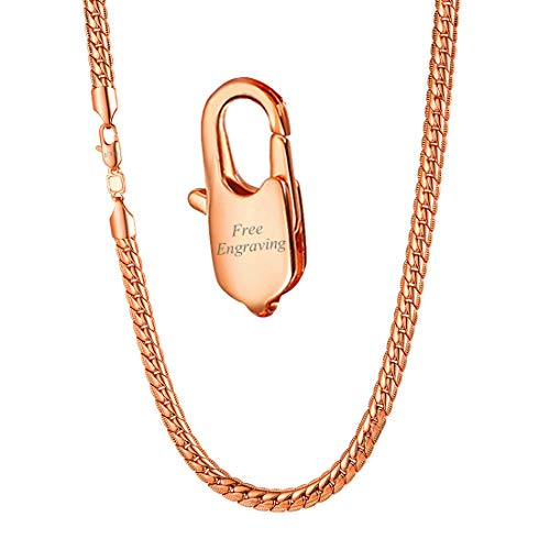 U7 Men Women Engraved Chain 6MM Wide Snake Chains Rose Gold Plated Jewelry Personalized Necklace 28 Inch