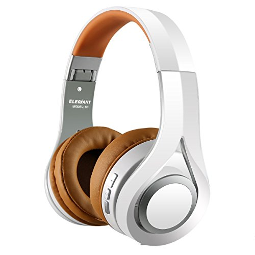 Wireless Headphones, ELEGIANT S1 Over Ear Wireless Headset Hi-Fi Stereo Headphones Foldable with Mic 16-Hour Playtime Wired and Wireless Modes for iPhone Android Tablet PC and More White