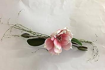 Formano 674302 Tischdeko Magnolie Rosa Weiss Ca 40 Cm Amazon De