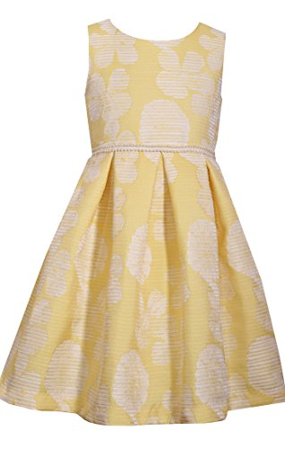 Bonnie Jean Girls 4-16 Easter A-line Yellow Floral Jacquard Party Dress, Yellow,5