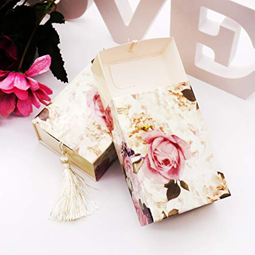 24 Ct Dusty Pink Vintage Rose Flower Drawer Tassel Favor Boxes Gift Bag Candy Treat Box for Victorian Shabby Tea Party Wedding Bridal Shower Birthday Dessert Table Decoration