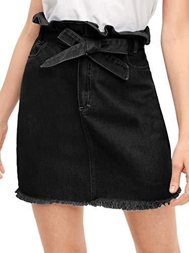WDIRARA Women's Casual High Waist A-Line Raw Hem Denim Short Skirt Black XL