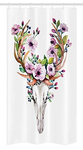 Ambesonne Skull Stall Shower Curtain, Deer Animal Skull with Floral Horns Nature Inspired Dead and Living Art Print, Fabric Bathroom Decor Set with Hooks, 36 W x 72 L Inches, Cream Pink Brown (Brown Cream Horn)