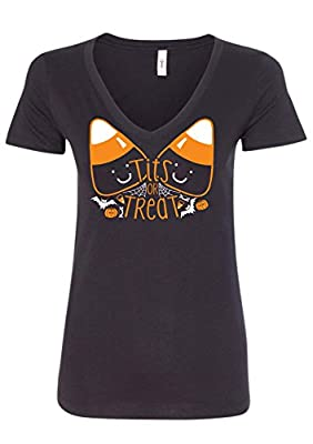 Tits Or Treat Womens Funny Sexy Boobs Halloween V-Neck Shirt