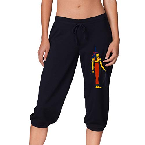Womens Workout Capri Pant, Egyptian Isis Running Beam Trousers for Women Black