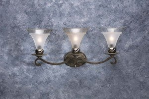 3 Light Tuscan Gold and Pewter Wall Fixture