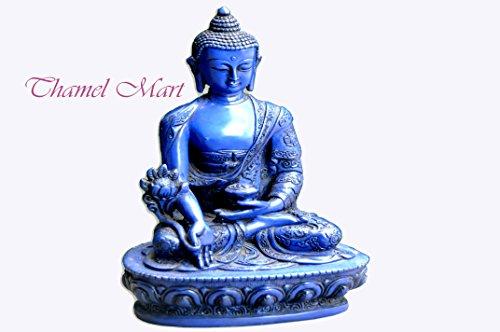 Large Medicine Buddha Tibetan Statue Handmade From Nepal Resin 8. 25 Inch