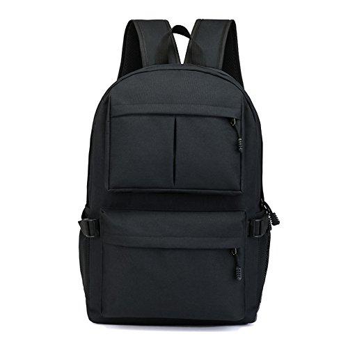 Juuly Mochila resistente al agua mochila de poliéster portátil de 15,6 pulgadas con puerto de carga USB mochila mochila para hombres / mujeres Negro