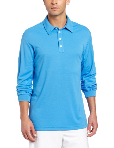 (adidas Golf Men's Climalite Long Sleeve Stretch Pique Polo Shirt, Oasis/White, XX-Large)