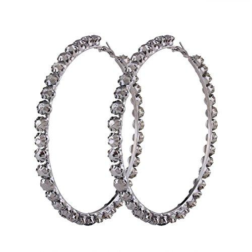 Large Gold Rhinestone Hoop - Kissweet Fashion Women Large Hoop Earring Set Black Gold CZ Rhinestone Crystal Earring (9cm-black)