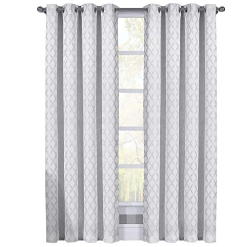 sheetsnthings Set of 2 Blackout Panels -Rosaline- (108″ W x 108″ L) White Woven Jacquard, Triple Pass, Thermal Isulated Grommet Top Window Curtains For Sale