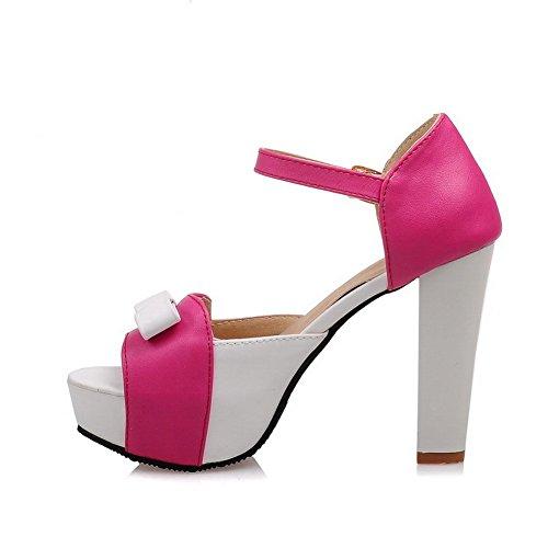 BalaMasa Womens Metal Bowknot Classic Patent Leather Sandals RoseRed UPBLJac