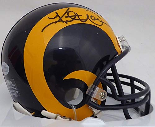 (Kurt Warner Autographed St. Louis Rams Yellow & Blue Mini Helmet Beckett BAS Stock)