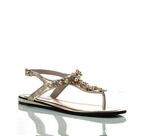 TOSCA BLU (Mai Tai) Sandalo Pelle Laminato Infradito Oro SS1713S251