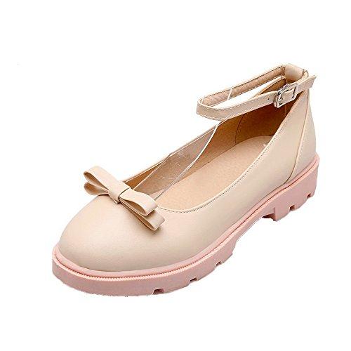 Odomolor Solide Pu-bas Talons Des Femmes Boucle Pompes Chaussures À Bout Rond, Beige, 42