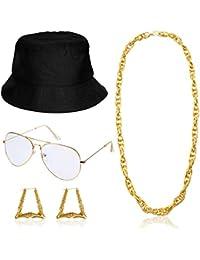 Hip Hop Woman Costume Kit Bucket Hat Sunglasses Gold Chain 80s/ 90s Rapper Accessories