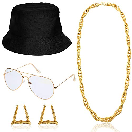 Hip Hop Woman Costume Kit Bucket Hat Sunglasses Gold Chain 80s/ 90s Rapper Accessories